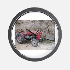 Red Tractor and Dirt Wall Wall Clock