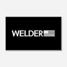 Welder: American Flag (White) Car Magnet 20 x 12
