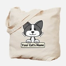 Personalized Black/White Cat Tote Bag