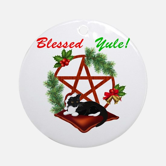 Blessed Yule Cat Round Ornament