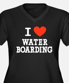 I Love Water Boarding Women's Plus Size V-Neck Dar