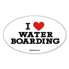 I Love Water Boarding Oval Decal