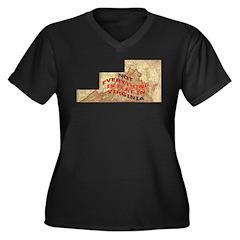 Flat Virginia Women's Plus Size V-Neck Dark T-Shir