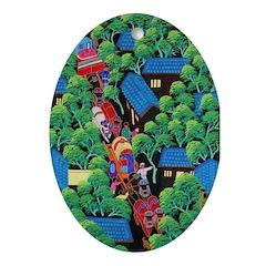 Village Procession Oval Ornament