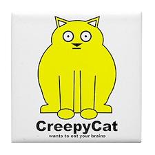Creepy Cat Tile Coaster