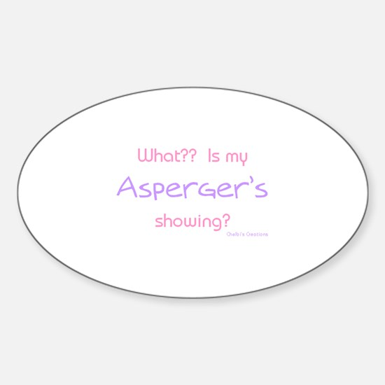 Asperger's Showing pink Oval Bumper Stickers