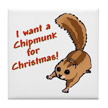 Christmas Chipmunk Tile Coaster