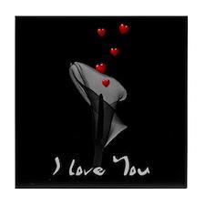 Black Lily Valentine Tile Coaster