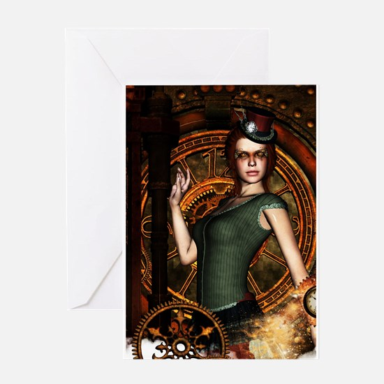 The steampunk lady with clocks and gears Greeting