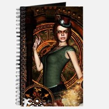 The steampunk lady with clocks and gears Journal