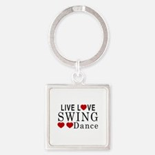 Live Love Swing Dance Designs Square Keychain