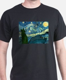 """Van Gogh's Cats"" Blue Tee T-Shirt"