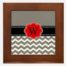Gray Red Chevron Personalized Framed Tile