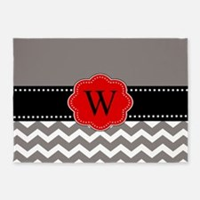 Gray Red Chevron Personalized 5'x7'Area Rug