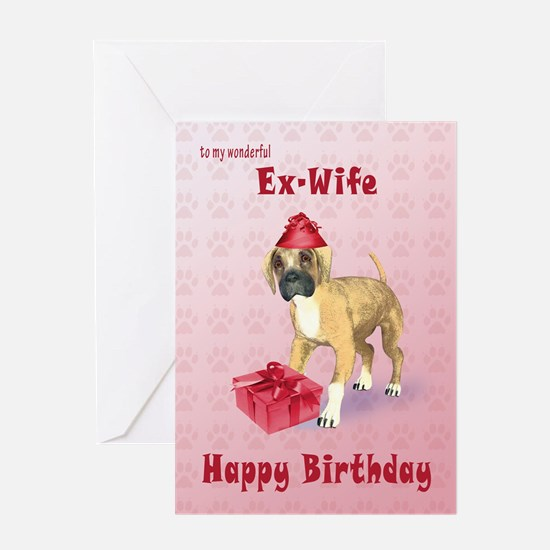Birthday card for a ex-wife with a boxer puppy Gre