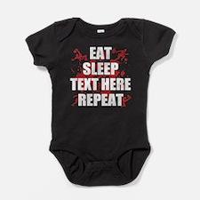Eat Sleep Soccer Repeat Personalize Baby Bodysuit