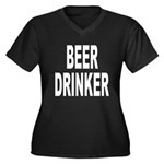 Beer Drinker (Front) Women's Plus Size V-Neck Dark