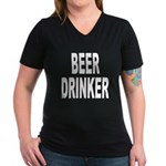 Beer Drinker (Front) Women's V-Neck Dark T-Shirt