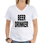 Beer Drinker (Front) Women's V-Neck