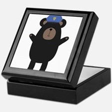 Happy Grizzly Police Officer Keepsake Box