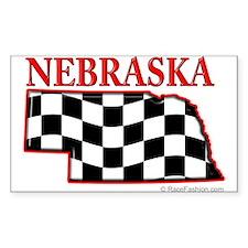 Nebraska Map-2 Rectangle Decal