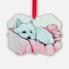 Sleepy Westie Ornament
