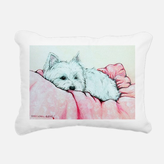 Sleepy Westie Rectangular Canvas Pillow