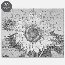 Cute Black and white sunflowers Puzzle