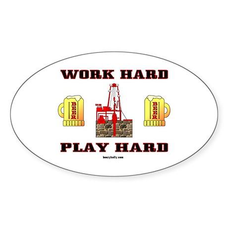 Play Hard Oval Sticker