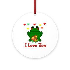 Green Frog Valentine Ornament (Round)