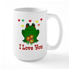 Green Frog Valentine Mug