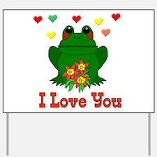 Green Frog Valentine Yard Sign
