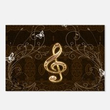 Music, clef with floral elements Postcards (Packag