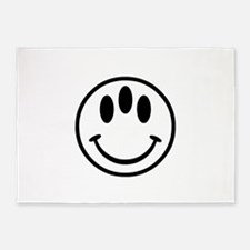 White 3-Eyed Smiley Face 5'x7'Area Rug