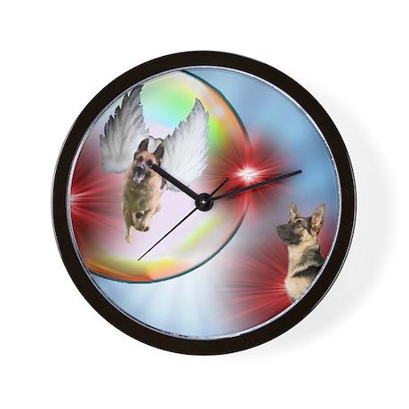 German Shepherd Flying Angel Wall Clock