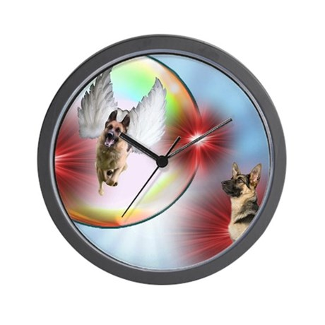 German Shepherd Flying Angel Wall Clock