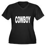 Cowboy (Front) Women's Plus Size V-Neck Dark T-Shi