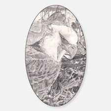Cute Bald eagle pencil drawings Sticker (Oval)