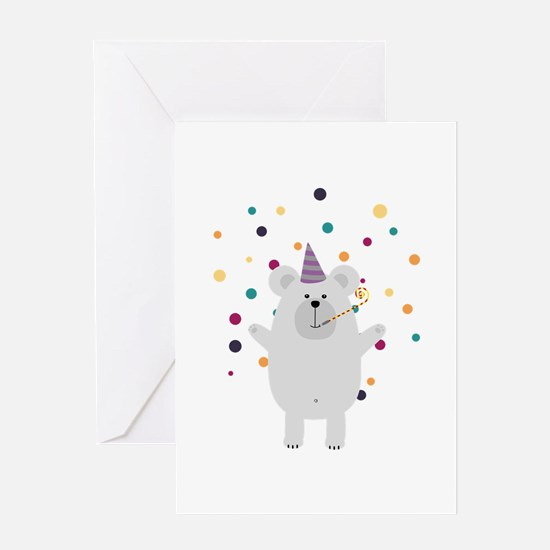 Party Polar Bear Greeting Cards