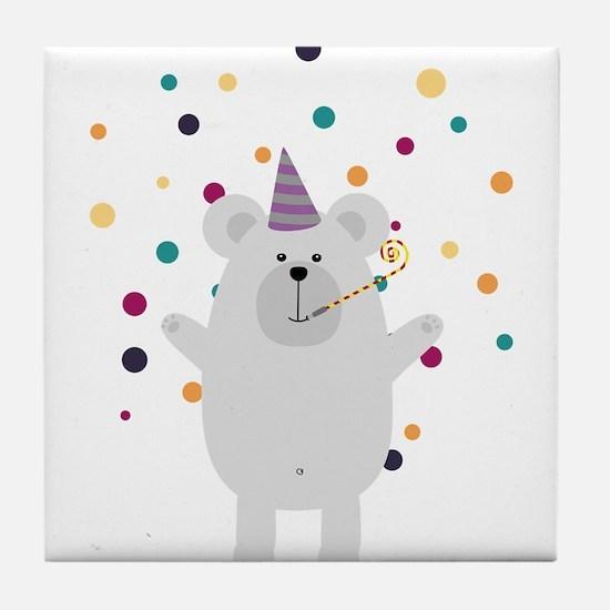 Party Polar Bear Tile Coaster