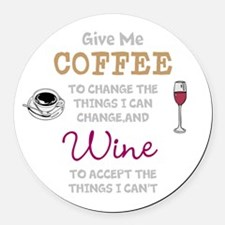 Coffee and Wine Round Car Magnet