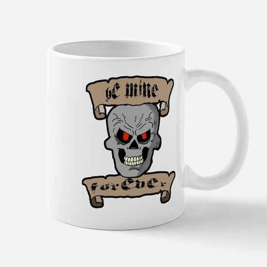 Be Mine Forever Skull and Scrolls Mugs