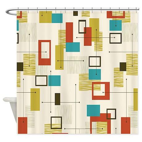 Mid Century Shower Curtain Part - 30: Cute 50s Shower Curtain