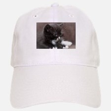 Black and White Kitten Baseball Baseball Cap