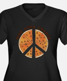 Give Pizza Chance Women's Plus Size V-Neck Dark T-