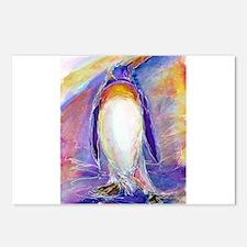Penguin! Colorful, fun, nature art! Postcards (Pac
