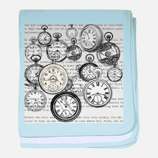 White Rabbit Watches Timepiece Alice baby blanket