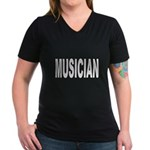 Musician (Front) Women's V-Neck Dark T-Shirt