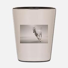 Beautiful white horse stallion Shot Glass