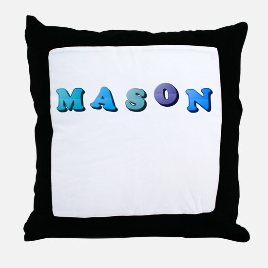 Mason (Colored Letters) Throw Pillow